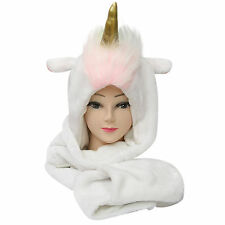 Women's New Unicorn Hood Soft Hoodie Scarf Hat Keep Warm Head Cover Hoody Snood