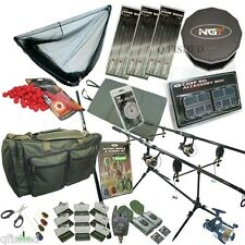 Full Carp Fishing Set up Rods Reels Hair Rigs Bite Alarms Bag + Tackle, Bait