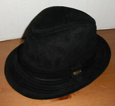 STETSON SUEDE Leather FEDORA HAT black LARGE new !
