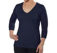 NEW 525 America Women's 3/4 Sleeve V-Neck Sweater Knit Top Dark Navy Small