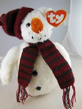 """Awesome 8"""" Ty Beanie Babies  Christmas Snow Man MWT 2000"""
