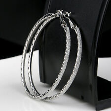 New Big Round Womens Gold Silver Diamond Crystal Rhinestone Hoop Dangle Earrings