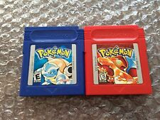 Pokemon Red Version + Blue Version (Nintendo Game Boy LOT) Carts Only - Tested