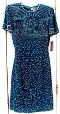 NEW TAG! ADRIANNA PAPELL (EVENING) 8 TEAL-GREEN 100% SILK SEQUINS FORMAL DRESS
