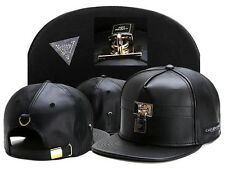 Mens Black Leather CAYLER SONS lock Snapback Adjustable Baseball Cap Hip hop Hat