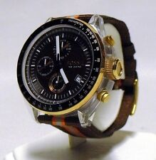 Nice Used FOSSIL CH-2701 Round Chrono Watch Brown Orange Fabric Strap Unisex