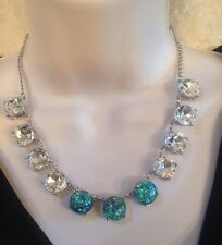 "CAPWELL GORGEOUS SIGNED SILVERTONE RHINESTONE & AQUA OPAL 16"" NECKLACE-WOW!! NWT"