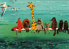 DIFFERENT ANIMALS WATCH BIRDS AT THE SEA SHORE Modern Russian card