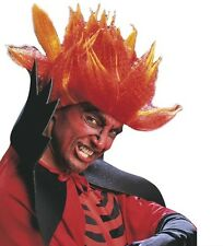 Mens Red Orange Diablo Devil Wig Evil Scary Fire Halloween Horror Fancy Dress