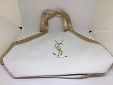 New Yves Saint Laurent Parfums YSL White Gold Canvas  Bag Eco Tote Bag Beach