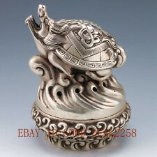 Chinese Silver copper Handwork tortoise Incense Burner