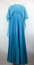 Vintage Blue Maxi Dress With Sheer Cape 1960s Cocktail Party Pleated Skirt