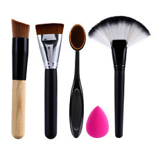 Pro 4pcs Makeup Cosmetic Brushes Face Powder Foundation Brush Tool +Sponge Puff