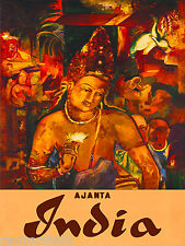 Ajanta India Asia Asian Indian Vintage Travel Advertisement Art Poster