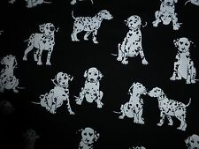 DOG Fabric Dalmation Fat Quarter Cotton Craft Quilting Puppies Black White