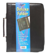 A4 Black Deluxe Leather Look Executive Business Conference Ring Binder Portfolio