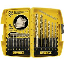 DEWALT 14pc GOLD FERROUS TWIST WOOD DRILL BIT SET PILOT POINT CONTACT CLEAN HOLE