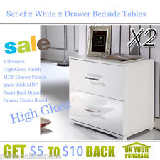 Set of 2 White 2 Drawer Bedside Tables High Gloss Finish MDF Drawer Panels AU