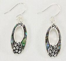 Hypoallergenic dangle drop earrings abalone ocean blue green inlay oval bali