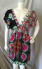 Desigual 100% Viscose Multi Colored Contrast Panel Sleeveless V-Neck Dress Sz 36