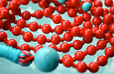 Red Coral Turquoise Hand Knotted Mala 108 Beads Necklace - Energized Karma, Nirv