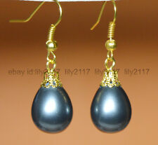 Fashion 12x16mm black South Sea Shell Pearl Yellow Gold Plated Hook Earrings