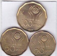 3 x 20 - 100 Pesos Argentinien 1978 Fußball Weltmeisterschaft WM 1982 Argentinia