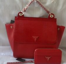 AUTHENTIC NEW NWT GUESS RED JOSEFINA BAG PURSE WITH MATCHING WALLET