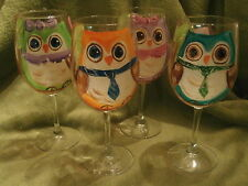 HAND PAINTED OWLS IN A TREE ASSORTED . SET /4 goblet 12 OUNCE GOBLETS/ GLASSES
