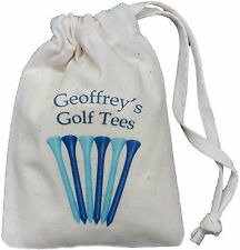 PERSONALISED - GOLF TEES BAG - TINY NATURAL COTTON DRAWSTRING BAG - Blue design