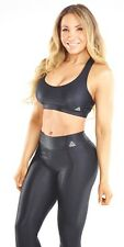 WOMEN'S YOGA WEAR SHINY CIRRE BLACK BRA TOP SMALL SUPPLEX LYCRA FROM BRAZIL