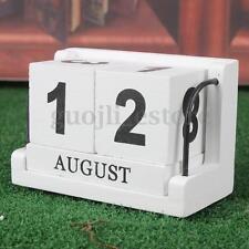 White Wood Perputal Calendar Classic Desk Blocks Artcraft Set Home Office Decor