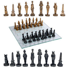 Egyptians God and Goddess Chess Set With Glass Board
