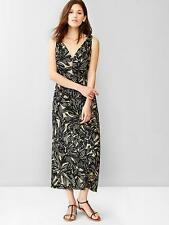 NEW GAP PRINTED V NECK RAMIE MAXI DRESS SIZE 14