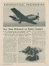 1952 Aviation Article Fairey Gannet Sub Hunter Airplane English Royal Navy