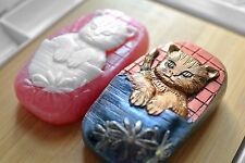 CAT SILICONE SOAP MOLD  SILICONE MOULD  PLASTER CANDLE CLAY