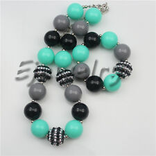 Turquoise Acrylic Stripe Beads chunky Girl Bubblegum necklace&bracelet set CB755