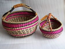 Quality Zulu African style round seagrass straw shopping bag pink brown orange