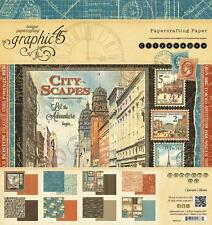 Graphic 45 CITYSCAPES 8x8 Paper Pad 24Sheets Travel Scrapbook Mixed Media NEW!