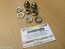 FRONT AXLE -  HUB NUT KIT STAINLESS STEEL 8 PIECE. FOR LAMBRETTA GP-LI-SX-TV NEW