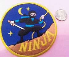 "Night Ninja fighter embroidered iron on sew on patch new old stock 4""x 4"""