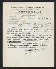 """MARSEILLE (13) PATES ALIMENTAIRES """"RIVOIRE & CARRET / CARRET Freres"""" en 1922"""