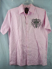 El General Mens Shirt Sz L Pink Black Silver Cross Applique Embroidery NEW NWT