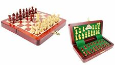 """Wooden Chess Set Travel Magnetic Folding Board Bud Rosewood 7.5"""" + Extra Queens"""
