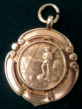 9ct Rose Gold Medal or Watch Fob -  Fishing and Angling 1937 Birminham hallmark