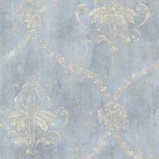 Blue & Cream Weathered Damask Wallpaper Double Roll Bolts FREE SHIPPING