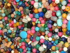 NEW MIX 1/2 (lb) LOOSE BEADS LOT Colorful GEM & STONES, NUGGET, GLASS (f4d)