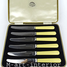 Artdéco 6 frutas cuchillo catalin faux Bone fruit Knife set Collingwood & son inglaterra