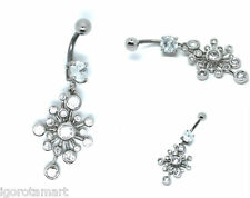 Lady's Peacock Solid 925 Silver Navel Dangle Button Belly Bar Body Piercing