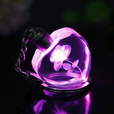 DIY Changing LED Color Engraved  Rose Crystal Car Key Chain Keychain Ring Keyfob